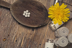 Homeopathic bottles and Pills Royalty Free Stock Photo