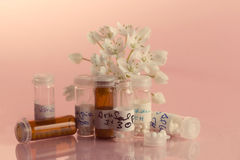 Homeopathic bottles and Pills Stock Photography