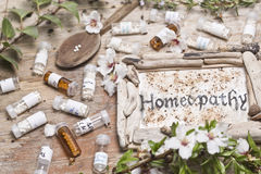 Homeopathic bottles and Pills Royalty Free Stock Photos