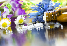 Homeopathic globules with blooms. Alternative medicine - homeopathic globules in front of colorful blooms Stock Photos