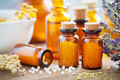 Homeopathic globules, mortar and healing herbs. Bottles of homeopathic globules, mortar, healing herbs and flowers. Homeopathy medicine concept royalty free stock photography
