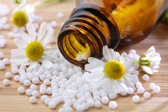 Homeopathic medication with chamomile globules Stock Image