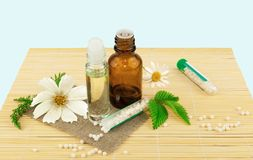 Homeopathic medication with flowers and leaves Royalty Free Stock Photography