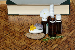 Homeopathic remedies and book Stock Photography