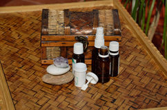 Homeopathic remedies and globules Stock Photos