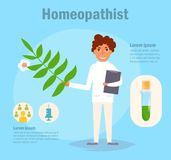 Homeopathist Vector beeldverhaal Geïsoleerd art. Stock Fotografie