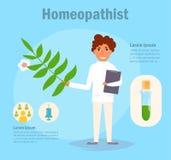 Homeopathistvektor cartoon Isolerad konst royaltyfri illustrationer