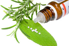Homeopathy. With green fresh herbs Royalty Free Stock Photos