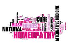 Homeopathy. Alternative medicine with controversies. Word cloud sign Stock Photo