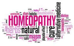 Homeopathy alternative medicine. Homeopathy - alternative natural medicine with controversies. Word cloud sign Royalty Free Stock Image