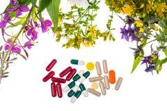 homeopathy Cápsulas herbarias, plantas medicinales en el backgroun blanco Foto de archivo