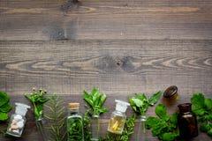 homeopathy Foglie delle erbe curative, delle bottiglie e delle pillole sul copyspace di legno di vista superiore del fondo Fotografie Stock Libere da Diritti
