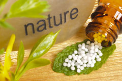 Homeopathy with globules Royalty Free Stock Images