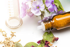 Homeopathy globules, syringe and flowers Royalty Free Stock Photography