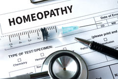 HOMEOPATHY  - A homeopathy concept with homeopathic medicine  Ho Stock Photo