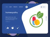 Homeopathy Landing page website template design. Quality One Page homeopathy Website Template Vector Eps, Modern Web Design with flat UI elements and landscape Stock Images