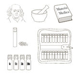 Homeopathy. Set of vector icons. Homeopathic pills, storage kit, mortal, pestle, book Materia Madica bottles Stock Photography