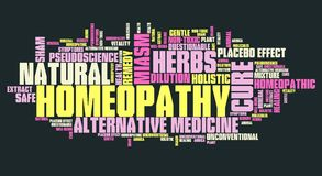 Homeopathy. Unconventional medicine with controversies. Word cloud sign Stock Photos