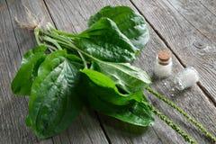 Homeopatyczne globula i banan Homeopatii medycyna Odgórny widok fotografia stock
