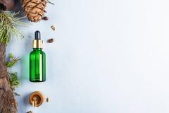 Homeopatyczni oleje, żywienioniowi nadprogramy dla jelitowych zdrowie Naturalnych kosmetyków, oleje dla skóry opieki na lekkim tl zdjęcia royalty free