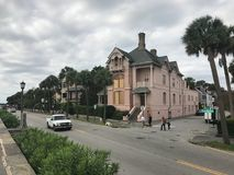 Charleston, South Carolina prepares for Hurricane Irma. Homeowners in downtown Charleston take precautions to their homes from from strong winds of Hurricane stock images