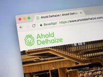 Homepage Ahold Delhaize fotografia stock