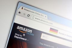 Homepage of Amazon.com. CZECH REPUBLIC - JULY - 28: Homepage of Amazon.com in the Czech Republic on Tuesday, July 28, 2015 stock photos