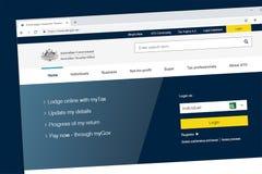 Homepage australiano de la página web de la colección del impuesto estatal de la ATO de la oficina de los impuestos stock de ilustración