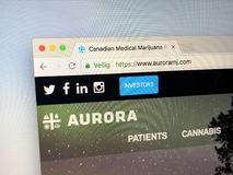 Homepage av Aurora Cannabis Inc royaltyfri fotografi