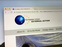 Homepage av den europeiska yttre handlingservicen EEAS Royaltyfri Fotografi