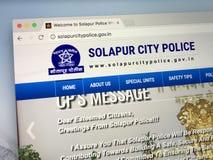 Homepage av den Solapur stadspolisen, Indien Fotografering för Bildbyråer
