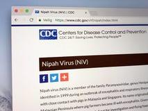 Homepage av mitten för sjukdomkontroll och förhindrande Royaltyfri Bild