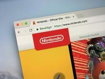 Homepage av Nintendo royaltyfri foto