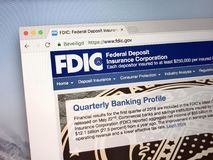 Homepage av Uen S Federal Deposit Insurance Corporation - FDIC arkivbilder