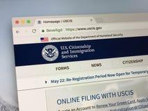 Homepage av Uen S Medborgarskap- och invandringservice - USCIS royaltyfri fotografi