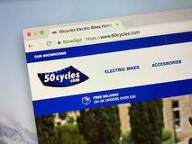 Homepage of 50cycles Electric Bike shop stock photos