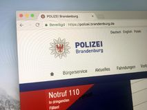 Homepage da polícia do estado de Brandenburger do embrião Fotografia de Stock