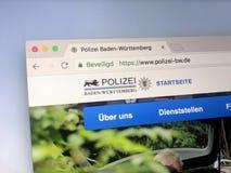 Homepage da polícia do rttemberg do ¼ de Baden-WÃ Foto de Stock