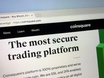 Homepage de Coinsquare Imagem de Stock Royalty Free
