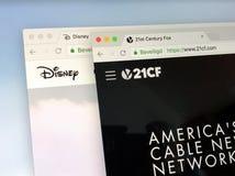 Homepage de Disney e do Fox do século XXI Imagem de Stock