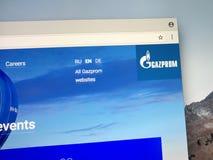 Homepage de Gazprom Foto de Stock Royalty Free
