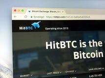 Homepage de HitBTC Imagens de Stock Royalty Free