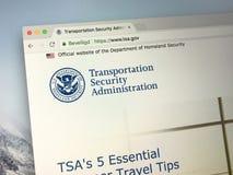 Homepage de la administración de la seguridad del transporte - TSA fotografía de archivo libre de regalías