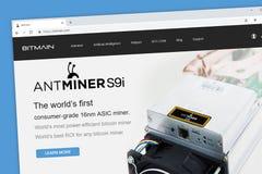 Homepage de la página web de Bitmain fotos de archivo libres de regalías