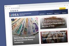 Homepage de la página web del DEA de la administración de aplicación de droga de Estados Unidos fotos de archivo