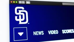 Homepage de la p?gina web de San Diego Padres del equipo de b?isbol Ci?rrese para arriba de logotipo del equipo ilustración del vector