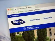 Homepage de la tienda eléctrica de la bici 50cycles fotos de archivo