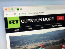 Homepage de RT anteriormente Rússia hoje Fotos de Stock Royalty Free