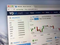 Homepage de Yobit Fotografia de Stock