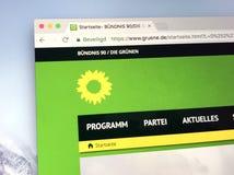Homepage dei verdi tedeschi di Alliance 90/The del partito politico Immagini Stock Libere da Diritti